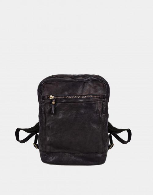 Dark brown leather backpack