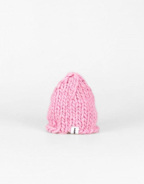 Chunky pink wool beanie