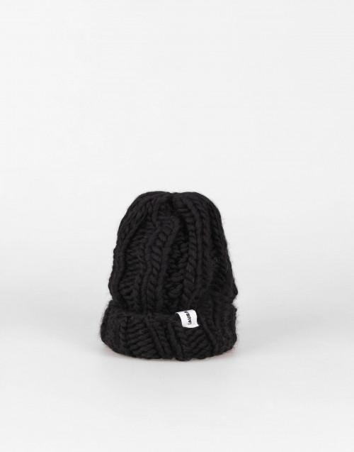 Cuffia Fonzie nera in lana