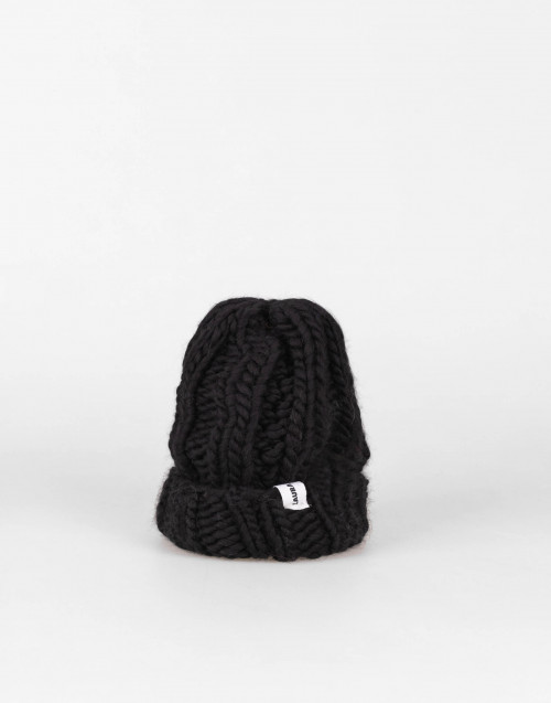 Fonzie black wool beanie