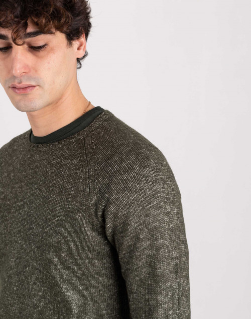 Melange green wool sweater