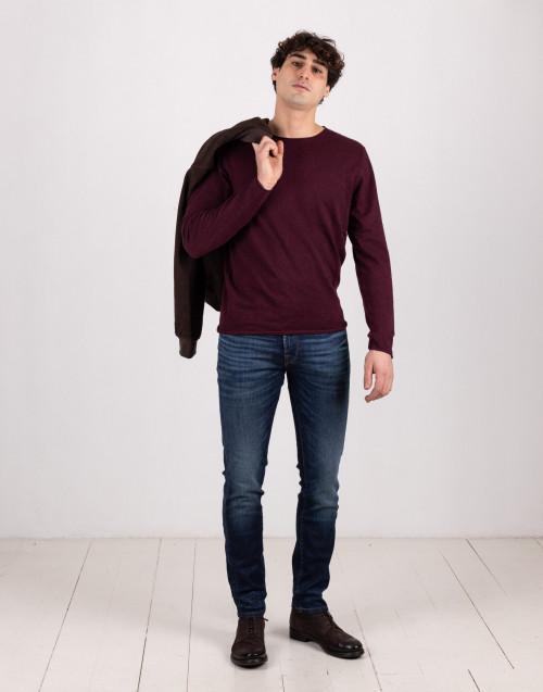 Maglione leggero in seta e cotone bordeaux