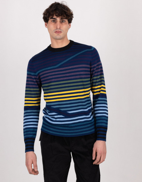 Blue striped wool sweater