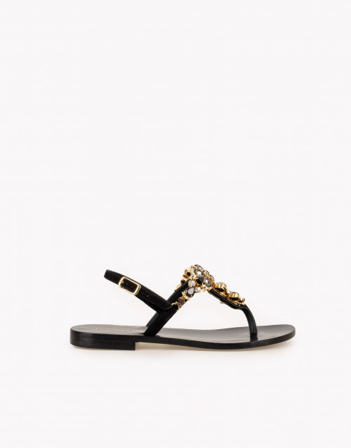 Flip-flop jewel sandals in black suede