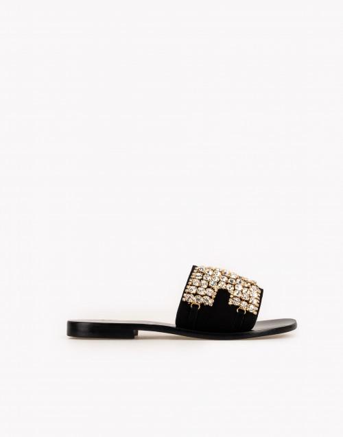 Sandalo ciabatta Swarovski suede nero