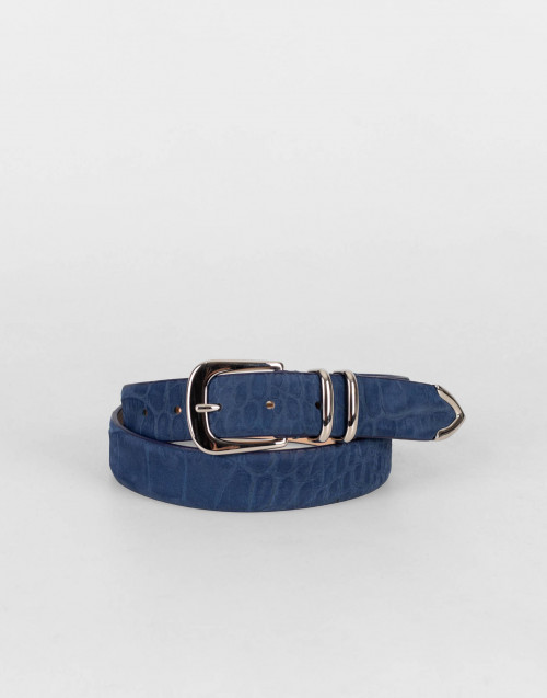 First class belt in blue nubuck leather