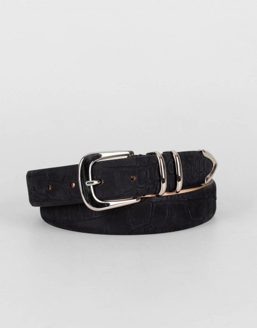First class belt in black nubuck leather