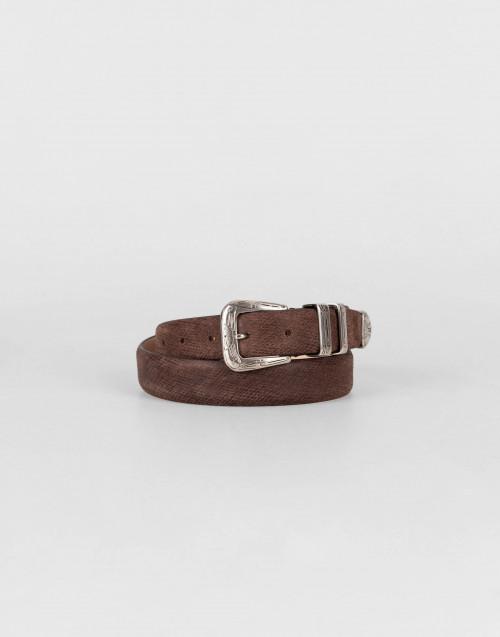 Cintura gipsy in pelle spazzolata marrone