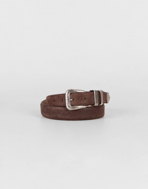 Gypsy belt in brown brushed leather