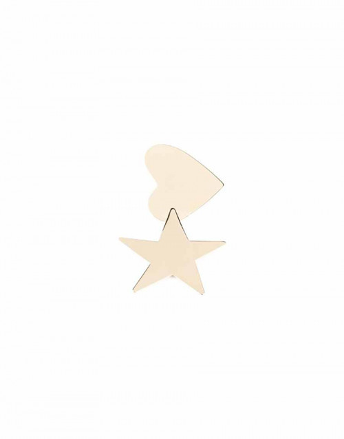 Gold star heart earring