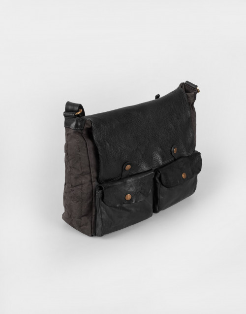 Black leather and canvas bandolier bag Santarcangelo