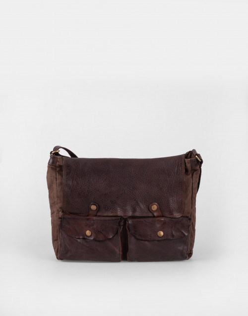 Dark-brown leather and canvas bandolier bag...