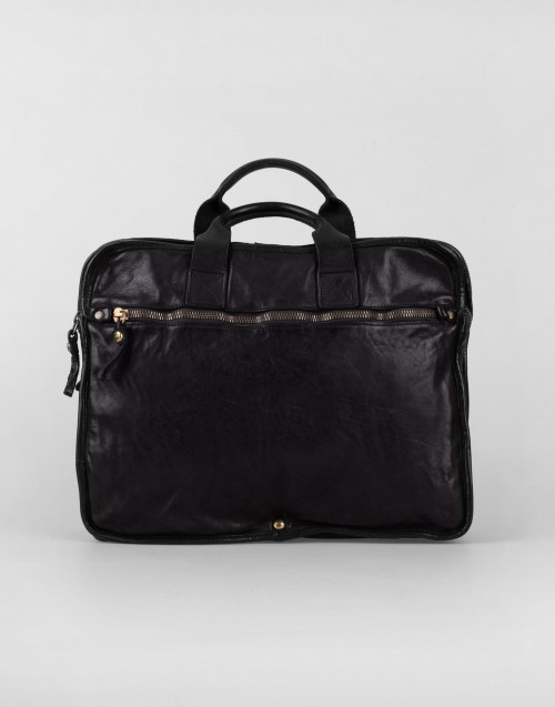 Black leather work handbag