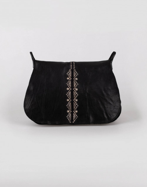 "Black big studded leather bandolier bag ""Magnolia"""