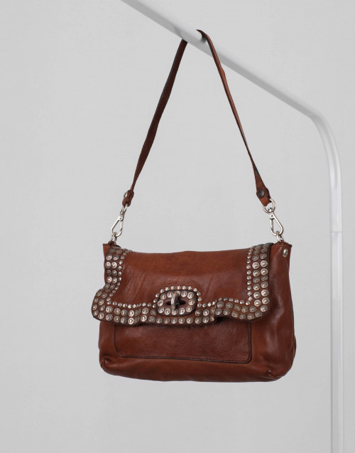 Studded cognac leather shoulder bag