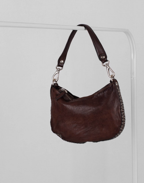 Small studded dark-brown leather one-shoulder bag