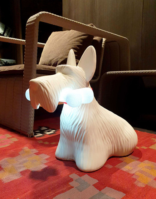 White Scottie Lamp