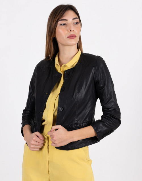 Black leather jacket with buttons