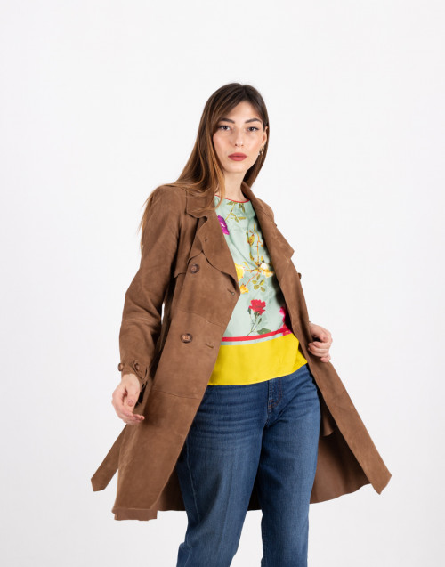 Camel color double-breasted suede trench coat