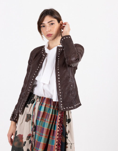 Brown collarless studded leather jacket