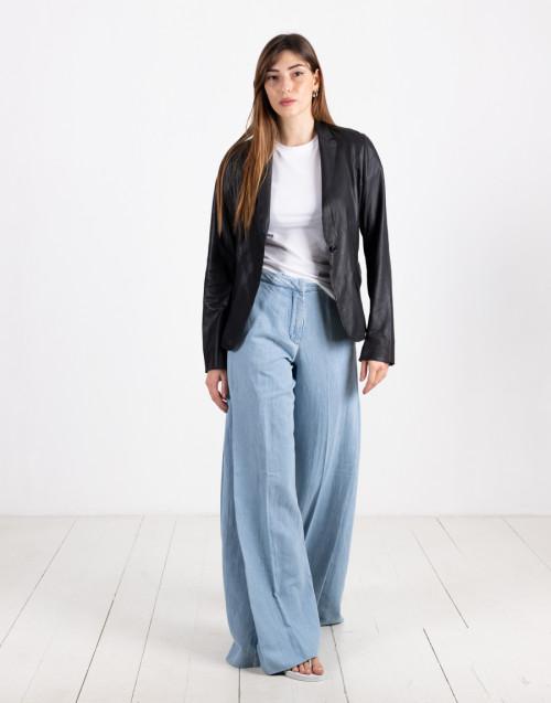 Black leather blazer with button