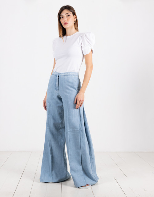 """Jackson"" palazzo jeans in cotton and linen"