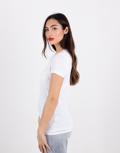 T-shirt basica bianca in lino