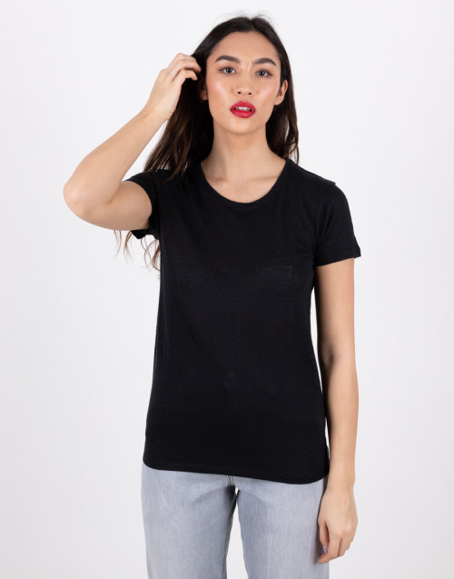 Black basic linen T-shirt