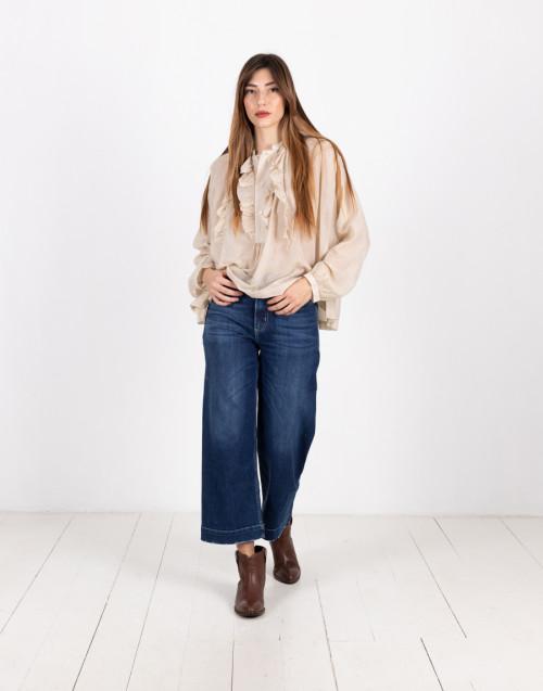 Semi-sheer beige blouse