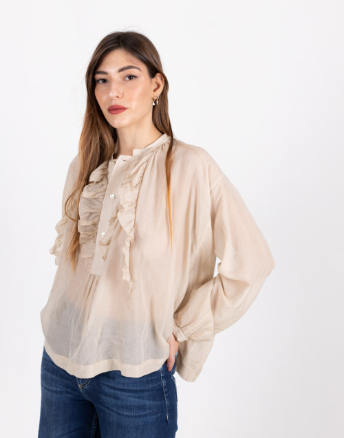 Semi-sheer beige blouse