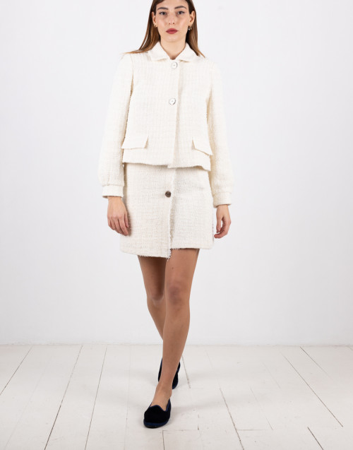 "White tweed miniskirt ""Camelie"""