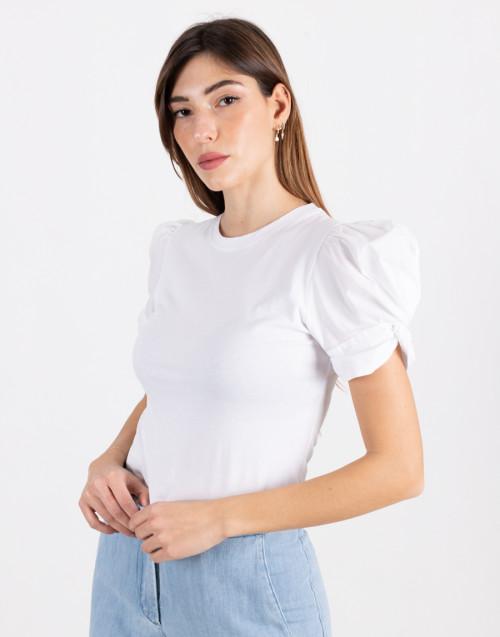 """T-shirt """"Adele"""" bianca con manica a sbuffo"""