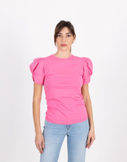 "T-shirt ""Adele"" fucsia con manica a sbuffo"