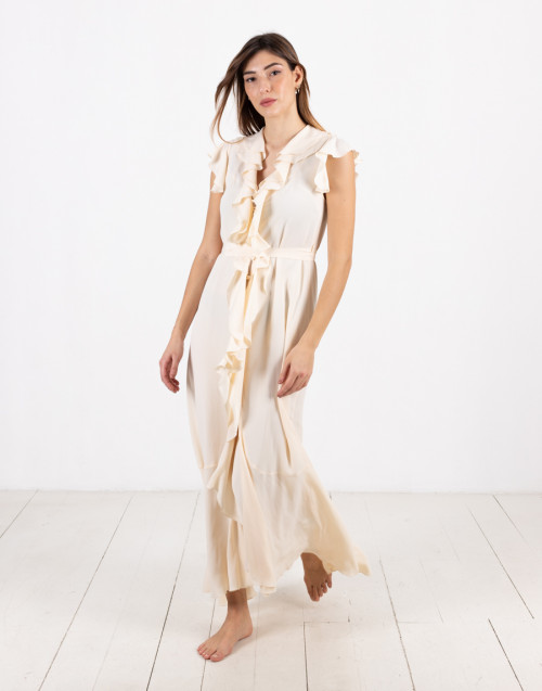 Long cream color silk dress with ruches