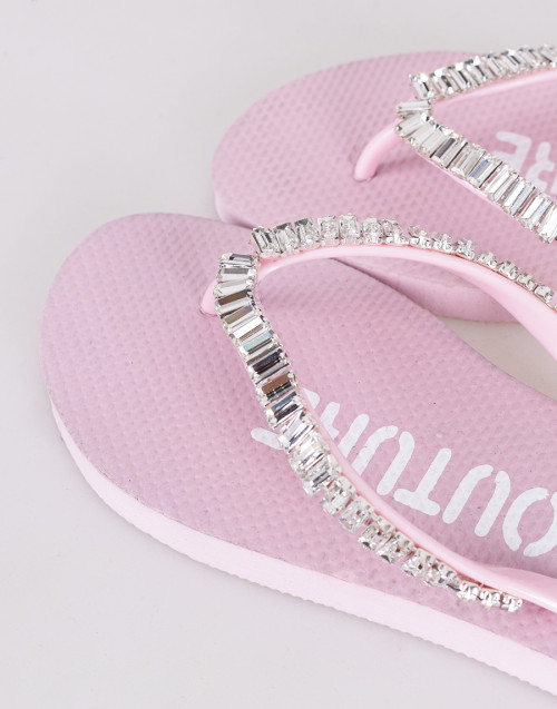 """Pink """"Elvire"""" Swarovski flip-flops"""