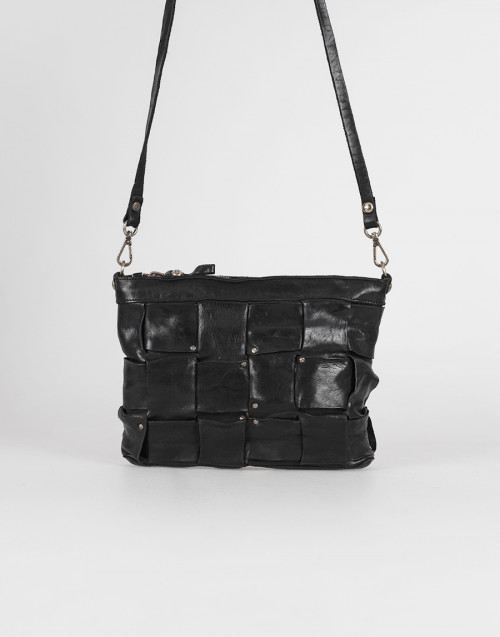 Black shoulder bag with interweaving