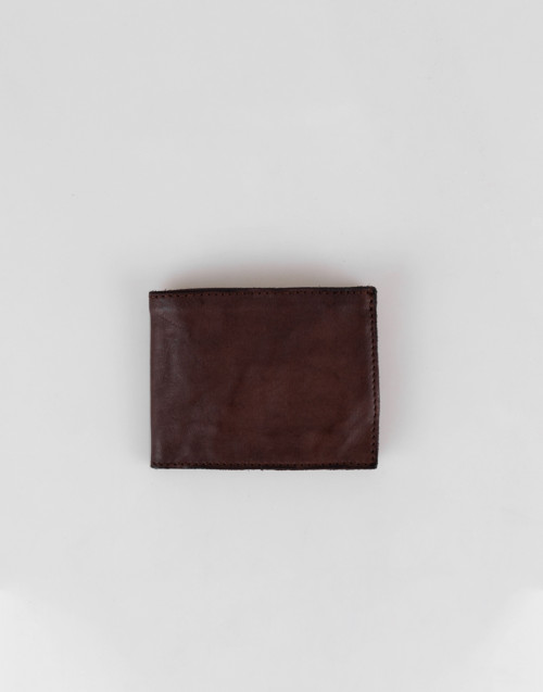 Dark-brown horizontal wallet with credit card holder