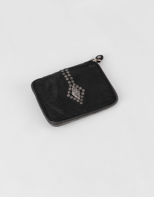 Black leather studded wallet