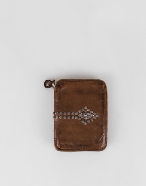Military green leather studded wallet