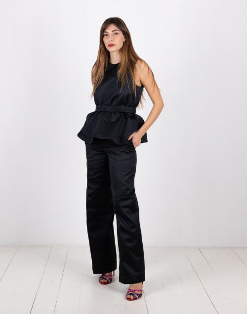 Black lapel pants