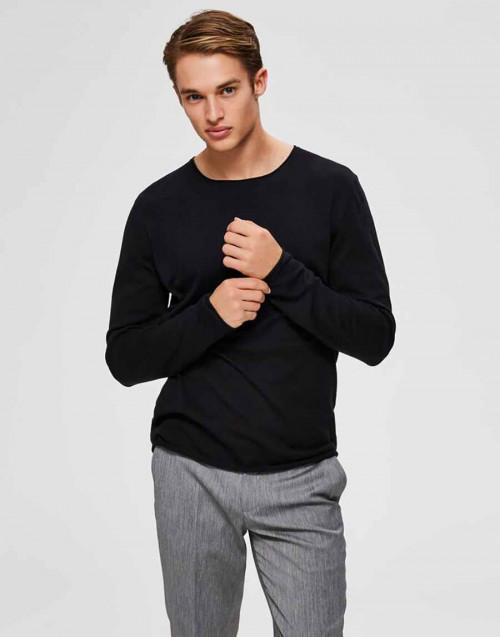 Maglione girocollo nero in seta e cotone