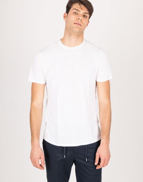 T-shirt bianca girocollo in lino