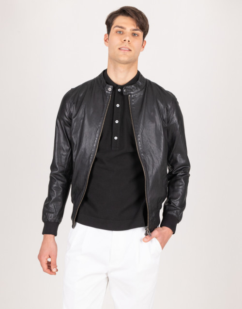 Black leather jacket with mandarin collar