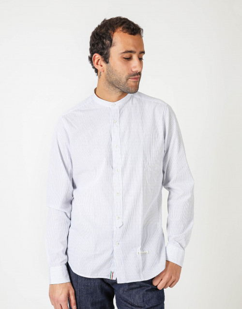 Cotton shirt w/ mandarin collar