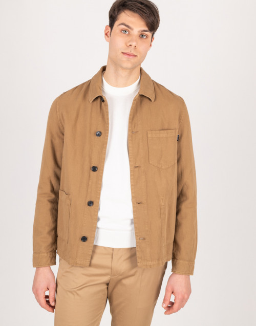 Field jacket in camel-colored canvas