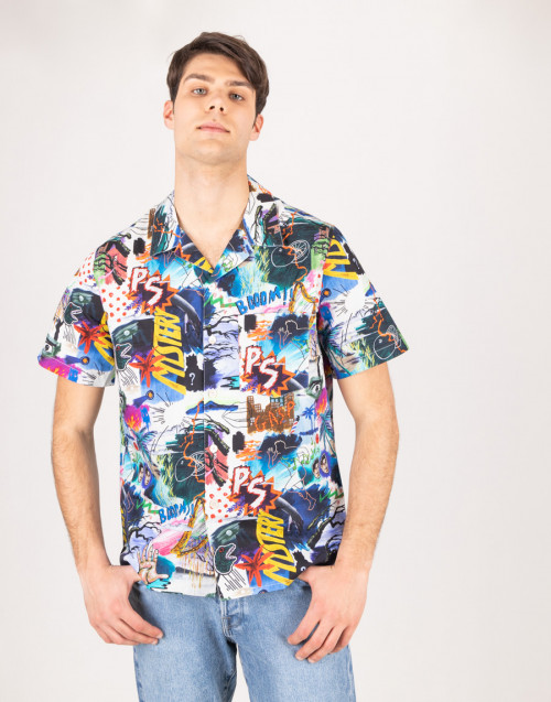 Bowling shirt with comic pattern