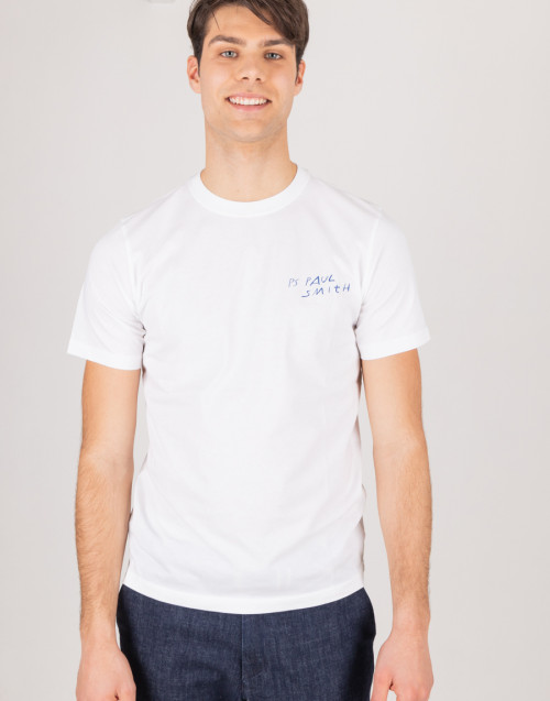 T-shirt bianca girocollo con stampa