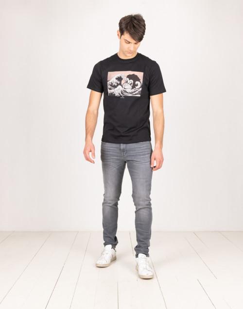 Jeans grigio scuro con schiariture