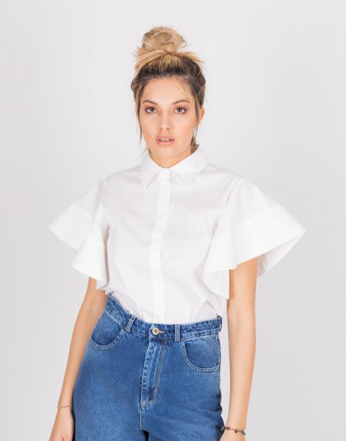 Blusa bianca con manica a campana