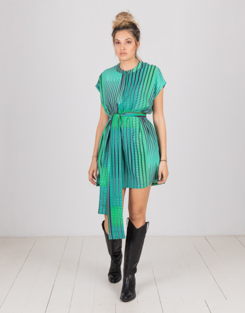 Green mini dress with matching belt